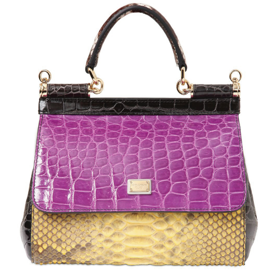 Sacs exotiques Dolce & Gabbana Small Sicily Patchwork pourpre