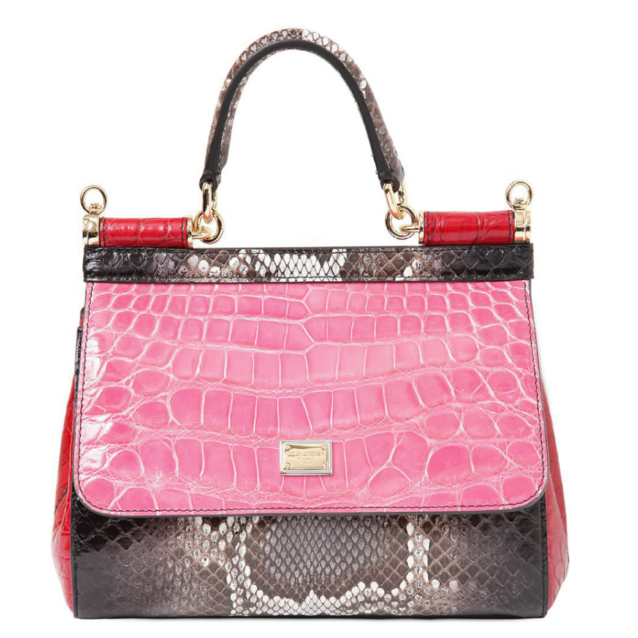 Sacs exotiques Dolce & Gabbana Small Sicily Patchwork rose